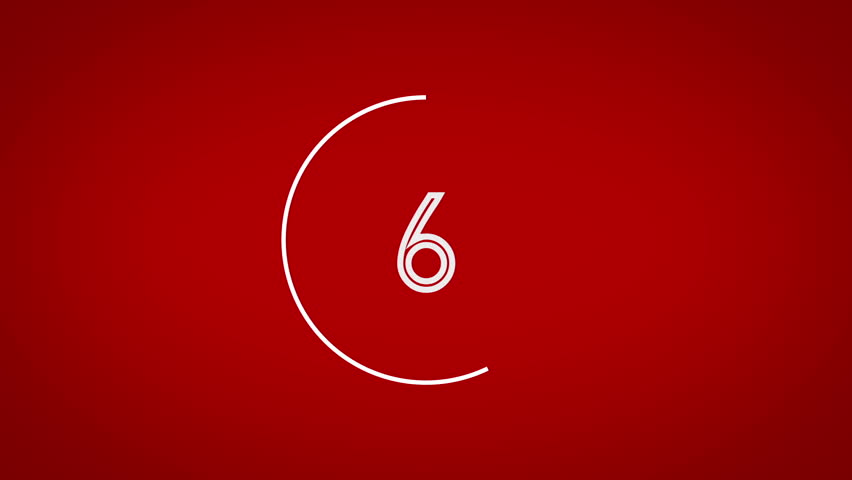 Countdown animation from 10 to 0. With awesome white graphical circles and red background