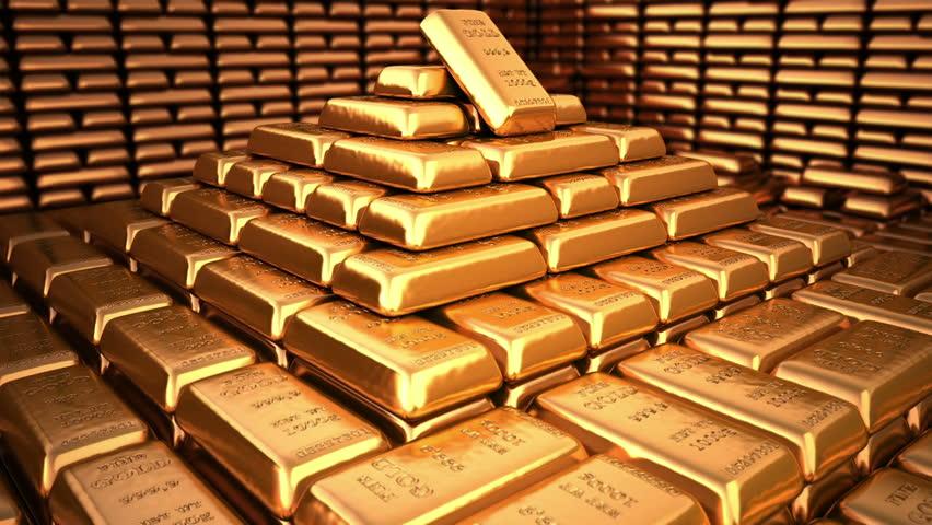 Pyramid of fine gold bars in bank vault or safe. Business, investment 3d illustration.