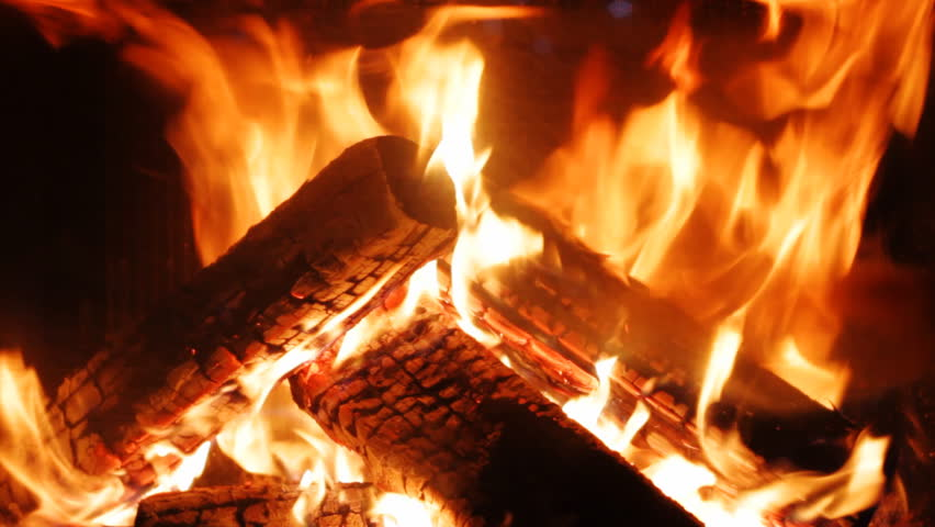 Burning In A Fireplace Stock Footage
