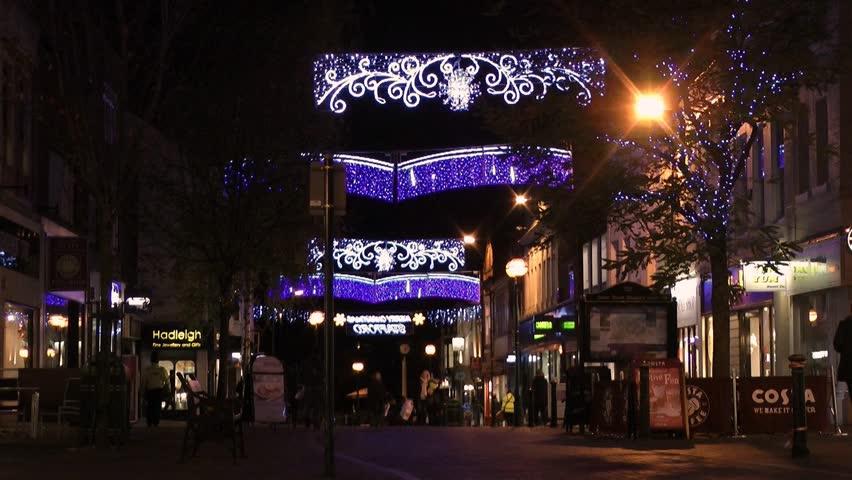 Stafford England - Circa 2013 English Street With Christmas Lights And Pedestrians Shopping Stock Footage Video 5147831 | Shutterstock & Stafford England - Circa 2013: English Street With Christmas ... azcodes.com