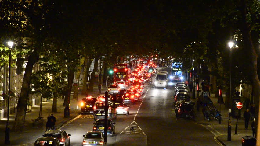 LONDON, UNITED KINGDOM - NOVEMBER 23, 2013: Night traffic jam drives down