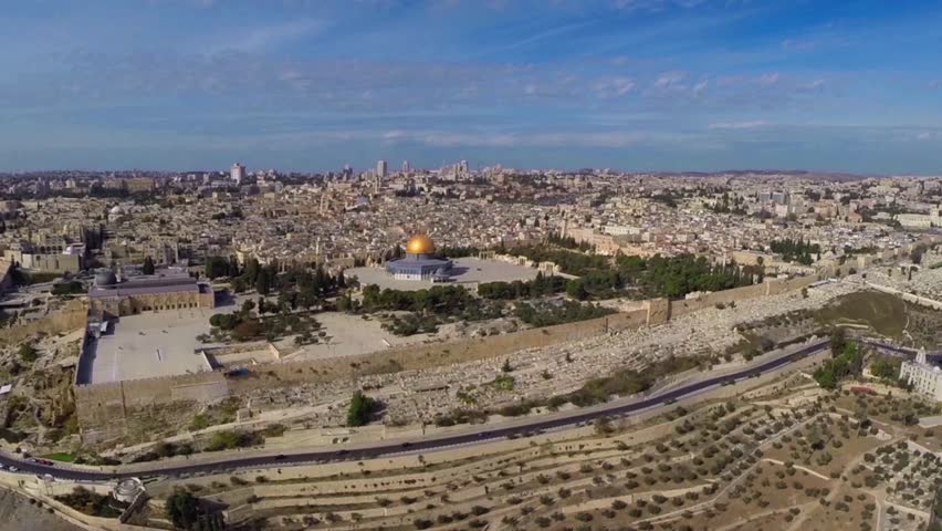 East Jerusalem flight Beautiful video flying over East Jerusalem  and the dome of the rock-kotel      Beautiful video flying over west Jerusalem and the old city