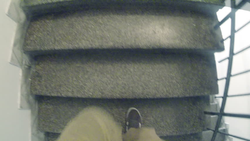 Man moving up on building staircase. GoPro3 Hero Black