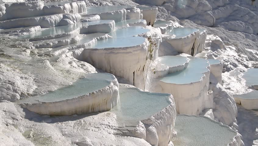 Water in pools and travertine formations in Pamukkale, Turkey