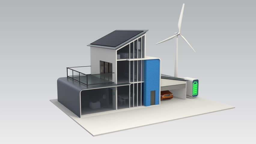 Stock Video Clip Of Energy Efficient House Powered By