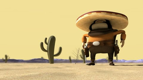 A cartoon hostile mexicano hombre with a poncho, sombrero and pistols in a holster around his waist in ready potion for a duel in a dry hot desert