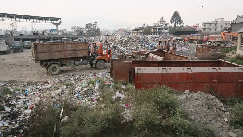 Trash and garbage. Pollution, dumping of garbage in city. Seagulls and vultures