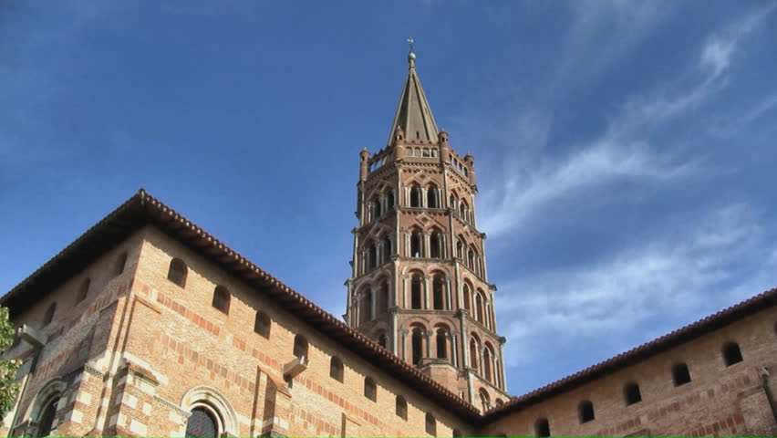 Timelapse scenic view of the Saint Sernin basilic in Toulouse. It was built in the Romanesque style between about 1080 and 1120. Recorded with a HD Canon Legria HF200 camcorder