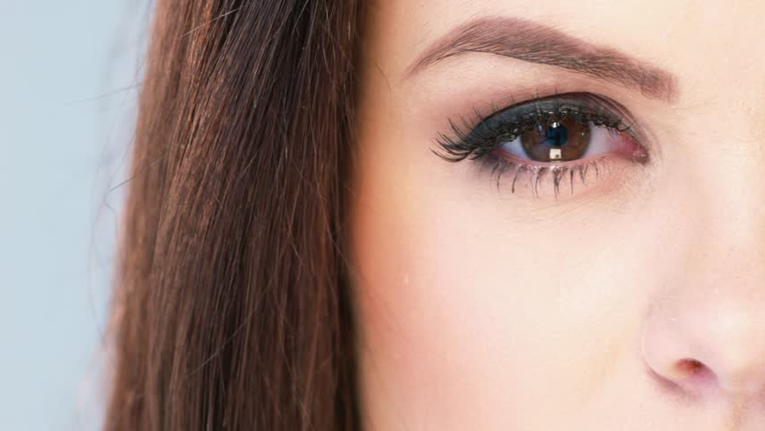 Close Up on Eye of Brunette Beautiful Girl