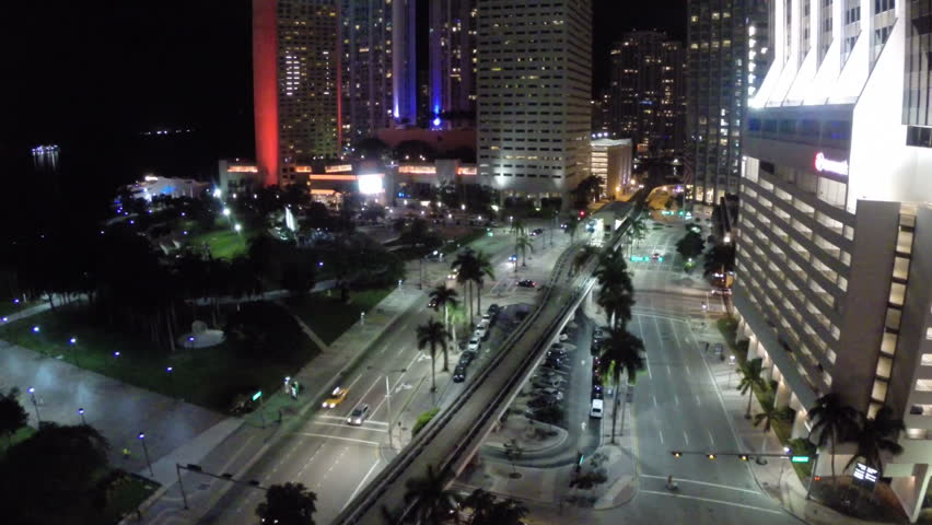 Downtown Miami aerial video at night