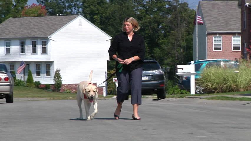A woman walks her dog.