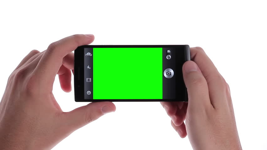 Taking a photo with a smartphone in landscape mode. Green screen with luma matte included. | Shutterstock HD Video #5309561