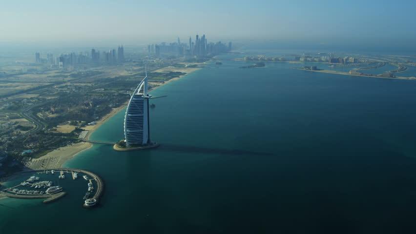 Dubai - November 18: Aerial view Dubai coastline, Burj Al Arab, Jumeirah Beach