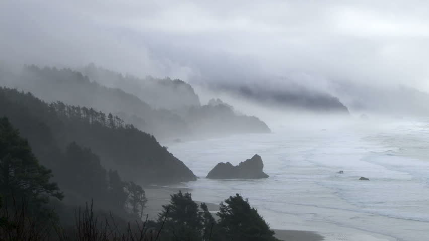 Storm brings rain and fog to the Pacific Northwest coastline in Oregon, with sound. #5321945