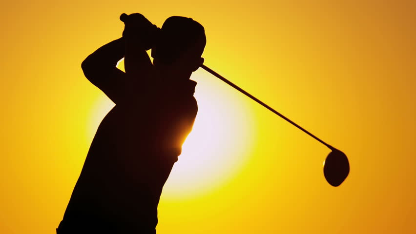 Silhouette weekend male golfer enjoying time golf course in summer driving off down fairway sunset shot on RED EPIC, 4K, UHD, Ultra HD resolution | Shutterstock HD Video #5337587
