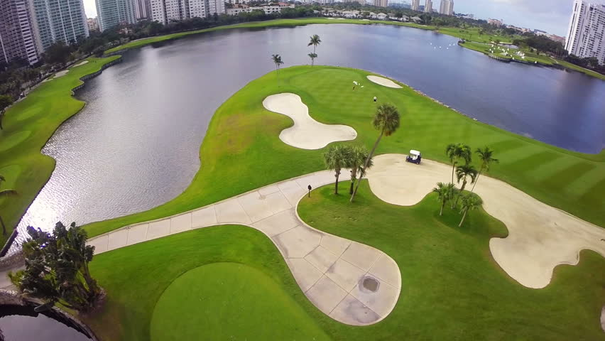 Aerial video footage of the Aventura Golf Course