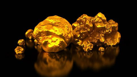 Gold mining. Native gold. Golden nuggets on black background. Business 3d animation