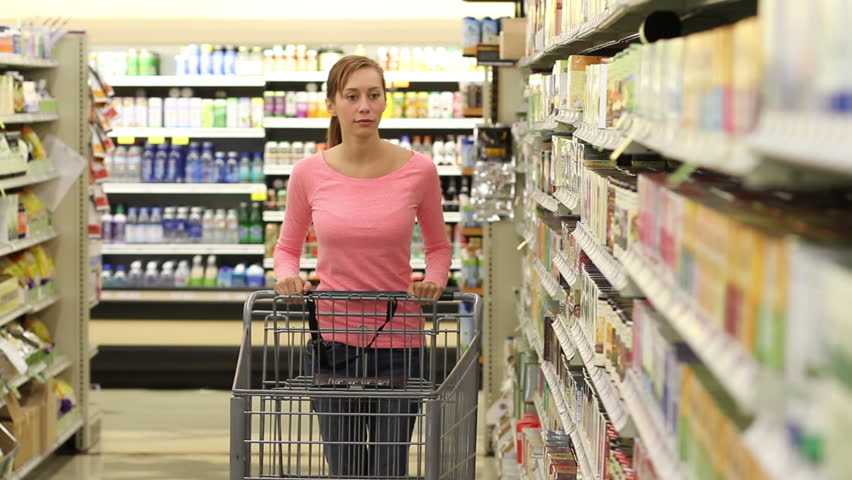 Woman grocery shopping. Shot in Loma Linda, California in July of 2013. | Shutterstock HD Video #5371148