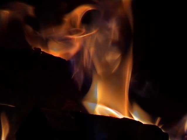 Detail shot form fire in an old fashioned metal oven. Paper, wood and coal burning merrily.  #53761