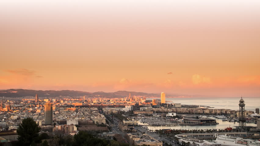 Barcelona skylinel view,time lapse from sunset to night with city lighting up | Shutterstock HD Video #5378711