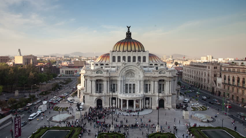 4k time-lapse of the impressive bellas artes building in mexico city