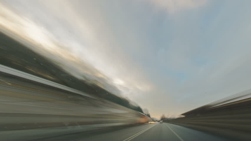 car journey time lapse  with blurred motion