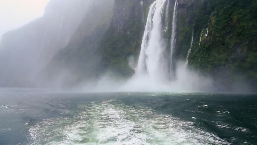 Milford Sound Fjord Waterfall in South Island, New Zealand #5411531