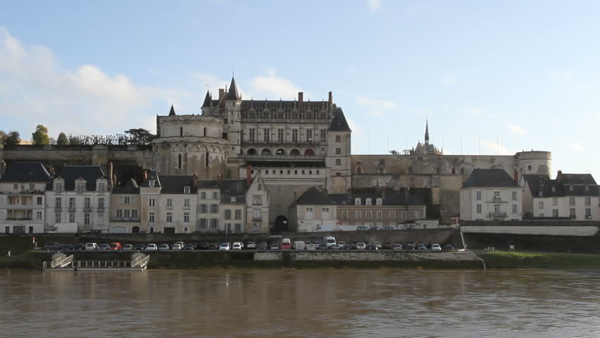 AMBOISE, FRANCE - January 2: River Loire and Amboise waterfront France on January 2nd 2014