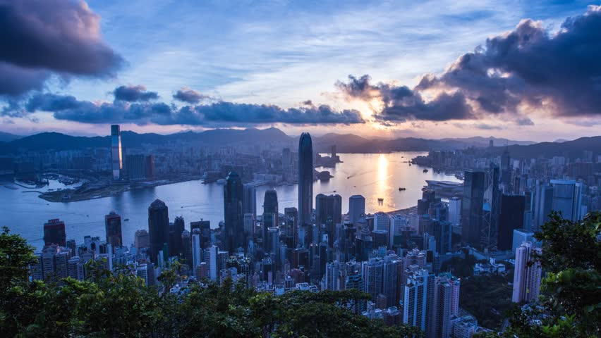 Hong Kong Victoria Habour Sunrise Stock Footage Video 100 Royalty