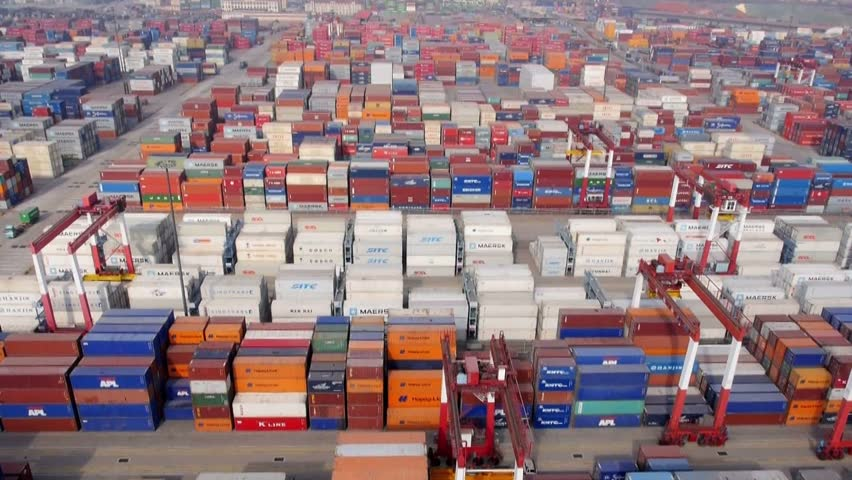 Qingdao - circa 2013: container throughput 15,520,000 TEUs. Owns 153 container routes, including international routes 124 per month more than 700 flights to and from classes around the world. | Shutterstock HD Video #5458721