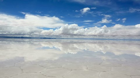 Panorama of the reflecting surface of the lake Salar de Uyuni, Bolivia