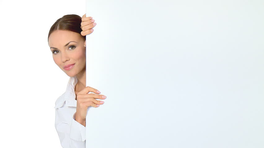 Beautiful business woman holding empty white board