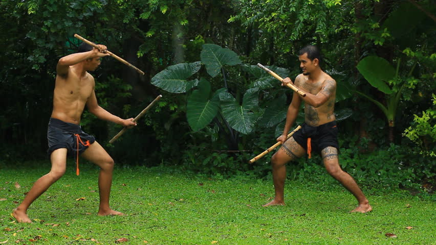 Daab Song Meu in traditional Thai martial art | Shutterstock HD Video #5487311