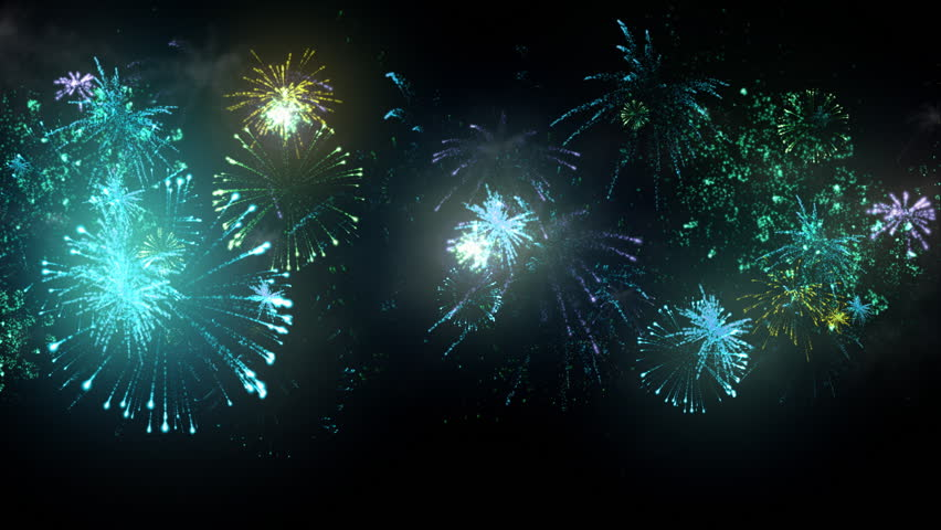Animated Fireworks Display Loop Cycle Stock Footage Video