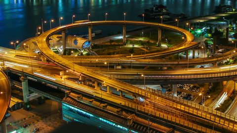 258) Time lapse of bridges and the Han river in Seoul, Korea.