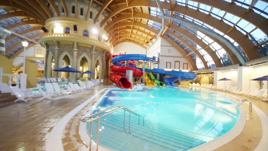 Moscow Russia June 24 2017 Pool With Water Slides At The Waterpark