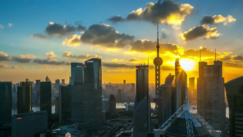 """Shanghai, day to night (seamless connection Clip ID: 5558588 ), viewed from skyscraper of Pudong in Shanghai China. -  >>> Please search similar: """"ShanghaiSkyline"""""""
