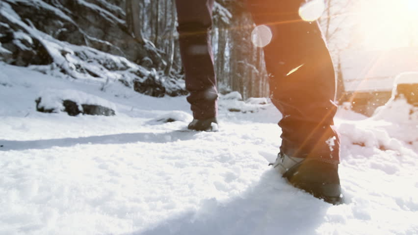 foot feet steeps. hiking walking. slow motion. snow winter landscape. recreation activity. holiday vacation tourism. people persons. outdoors sports #5594651
