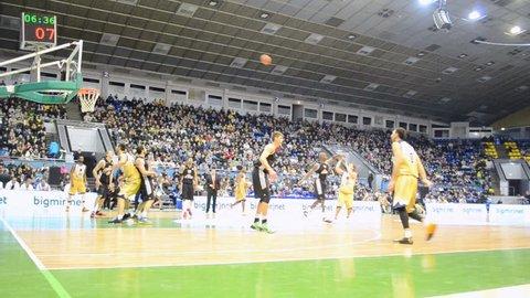 KIEV - FEB 09: Basketball championship F4 Final in Kiev, Ukraine on February 09, 2014. F4 Final take place on February 08-09, 2014 in Sport Palace.