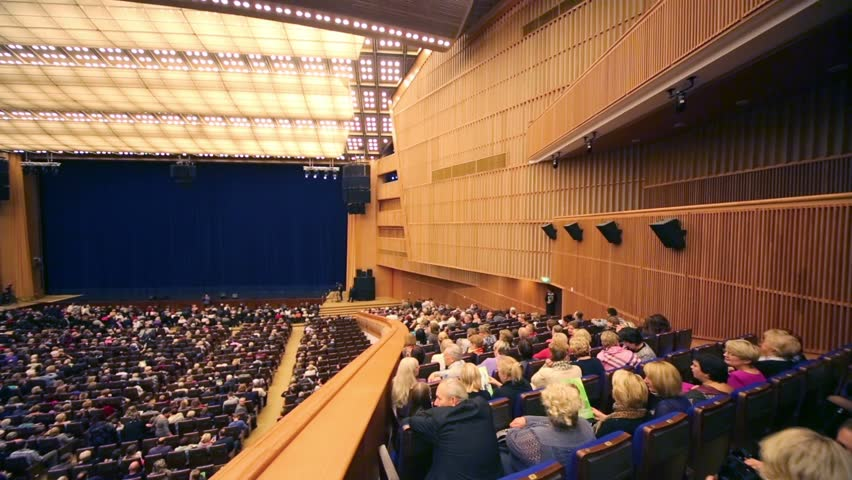 MOSCOW, RUSSIA - OCT 14, 2012: Audience on balcony and stage before anniversary concert Edyta Piecha at Kremlin Palace. State Kremlin Palace was built in 1961. | Shutterstock HD Video #5613191