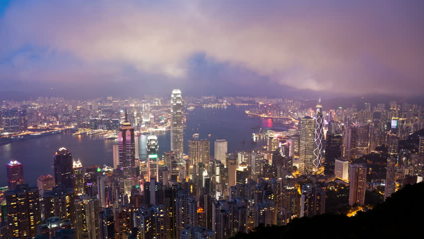 4k timelapse video of Hong Kong from day to night