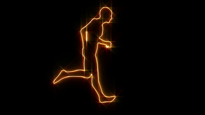 Silhouette running on flames