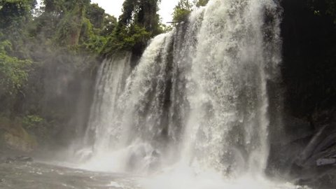 Waterfall in Phnom Kulen Cambodia recorded at slow motion 120fps