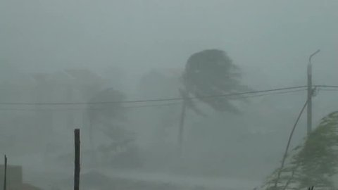 Extreme Winds As Hurricane Hits. Eyewall of hurricane slams into town with extreme winds and heavy rain