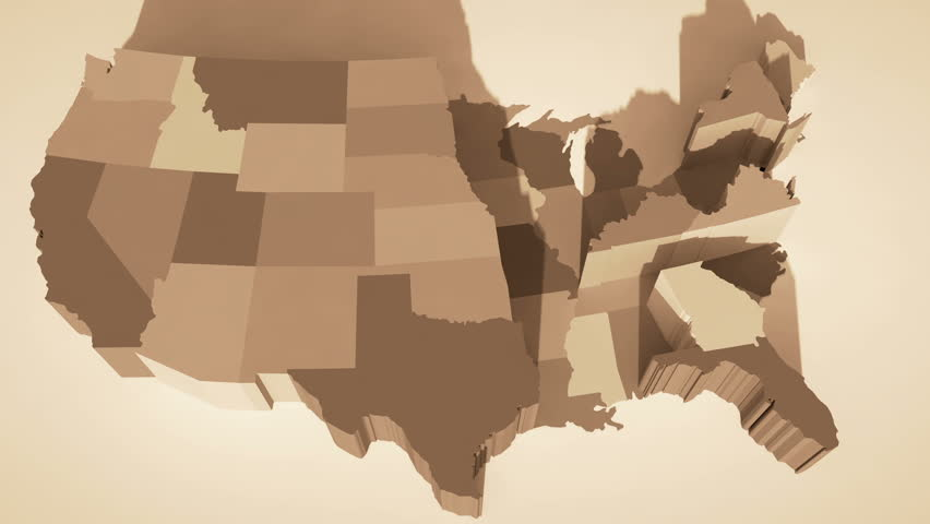 D Map Of The United States In Random Order Stock Footage Video - Us brown map with states