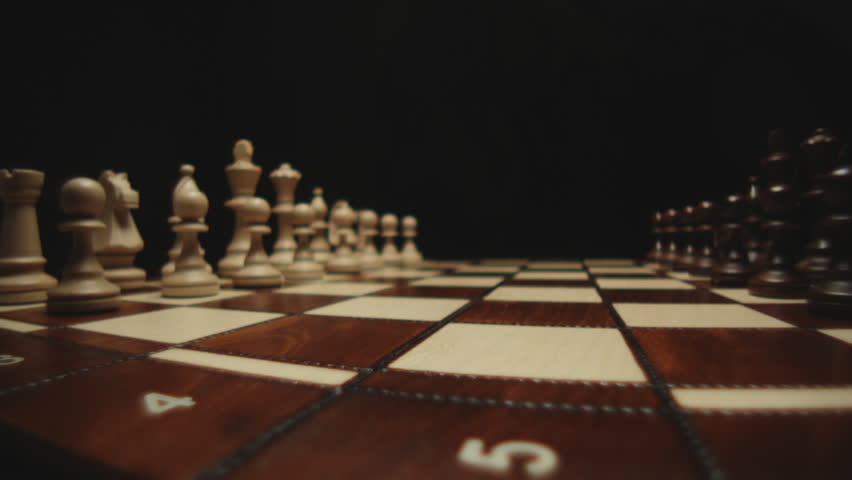 chessboard and chess pieces stock footage