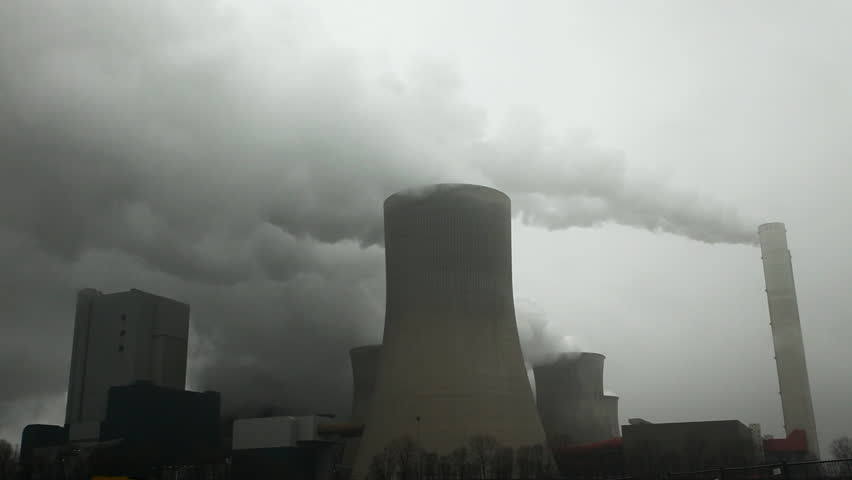 HD 1080 static: coal fired power plant producing electricity and air polution;