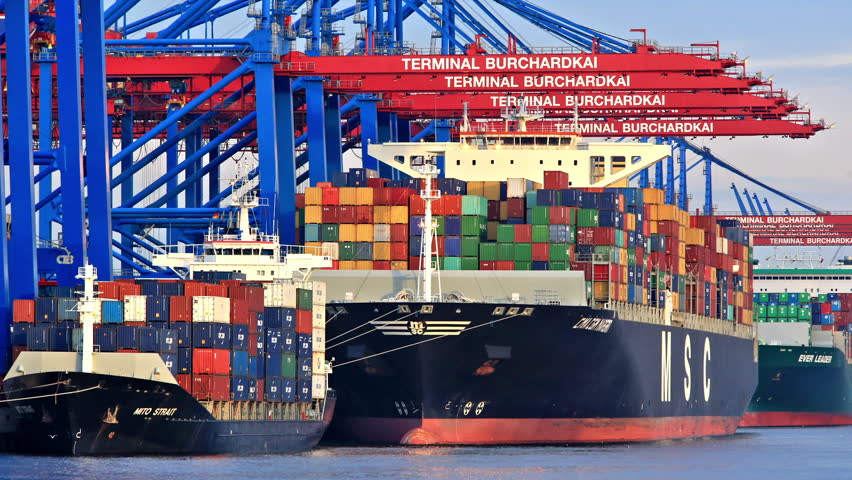 Stock Video Of Container Ship Port Of Hamburg Germany