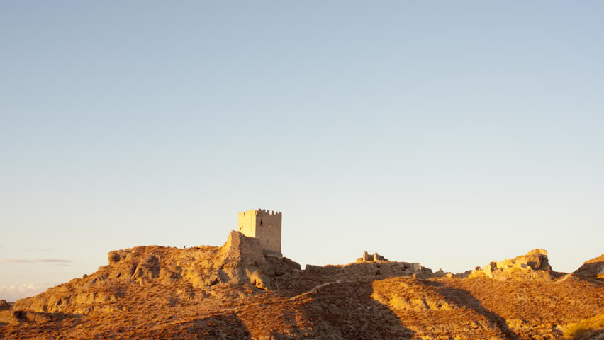 Time-lapse with a day to night transition of a Castle in Spain