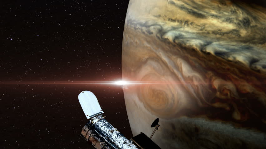 Hubble Space Telescope Passing Over Jupiter Stock Footage Video - Amazing videos hubble telescopes yet